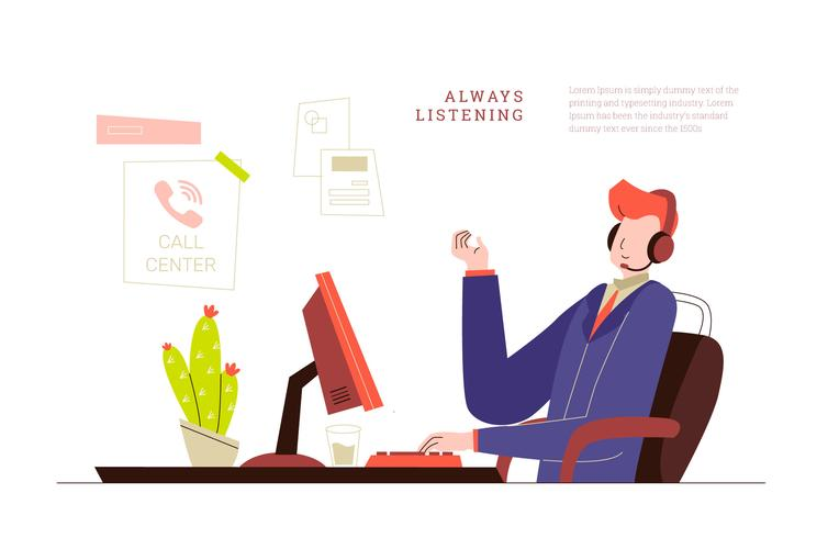 Customer Service Man at Call Center Office Vector Illustration