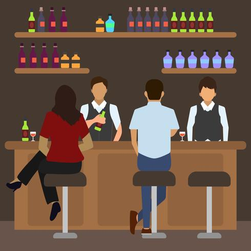 Flat Crowded Bar Scene Vector Illustration