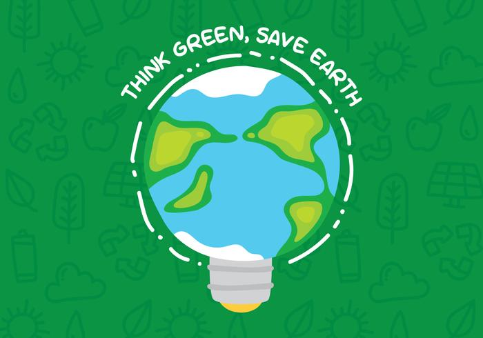 Pense cartaz verde com bulbo da terra