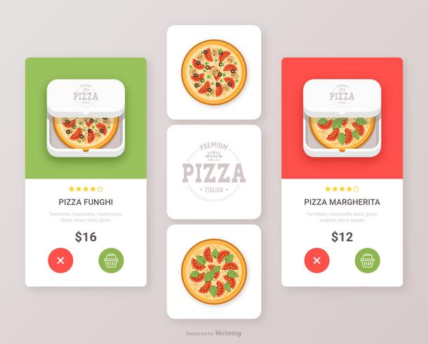 Pizza Food App Icon Vector Design de interface do usuário conjunto