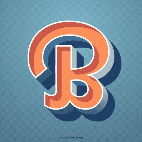 Diseño del vector retro 3D letra b tipografía
