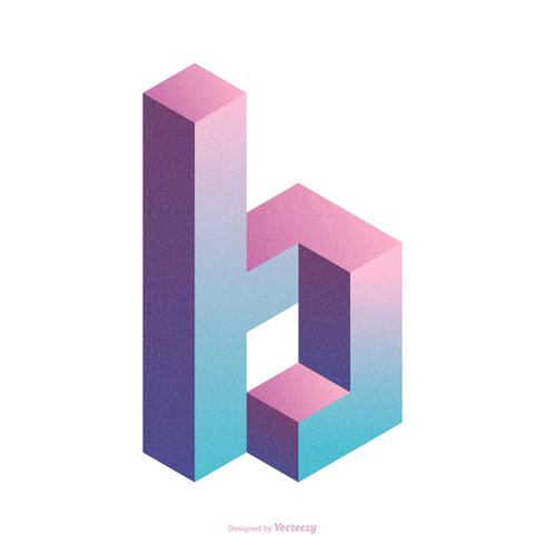 Isometric Letter B Typography Vector Design