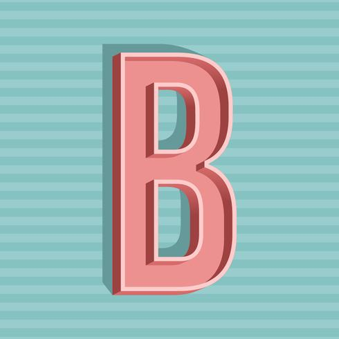 3D Vintage lettre B typographie vecteur