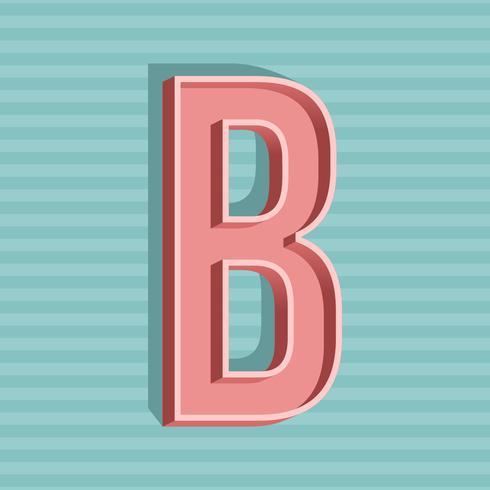 3D Vintage letra B tipografia Vector
