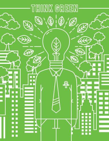 Pensez vecteur d'affiche vert