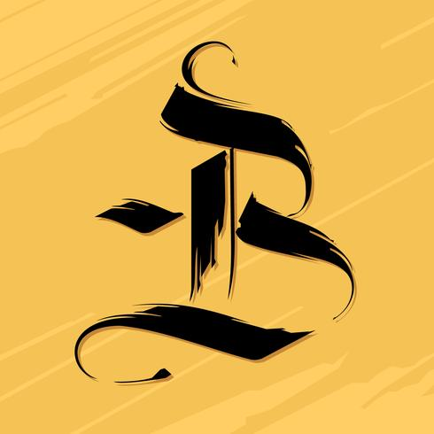 Black Inked Gothic Letter B Typography Vector