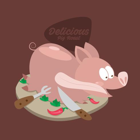 Delicious Cute Pig Roast Vector