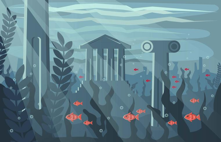 City Of Atlantis Flat Illustration Vector