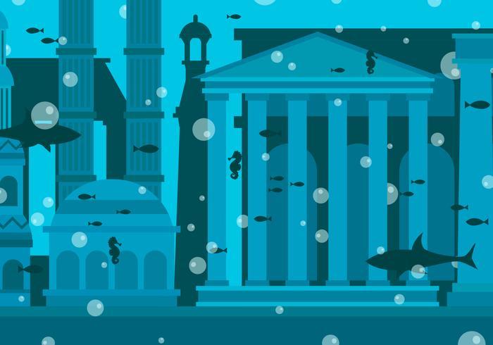 Illustration vectorielle de la ville d'Atlantis