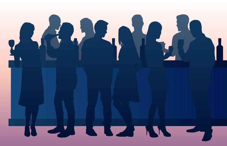 People Drinking In A Busy Bar vector