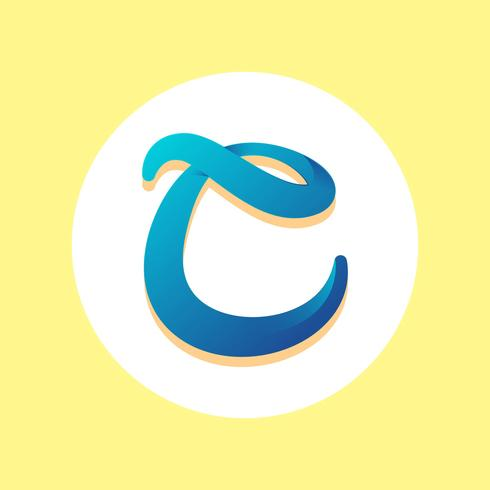 Letra C tipografía vectorial
