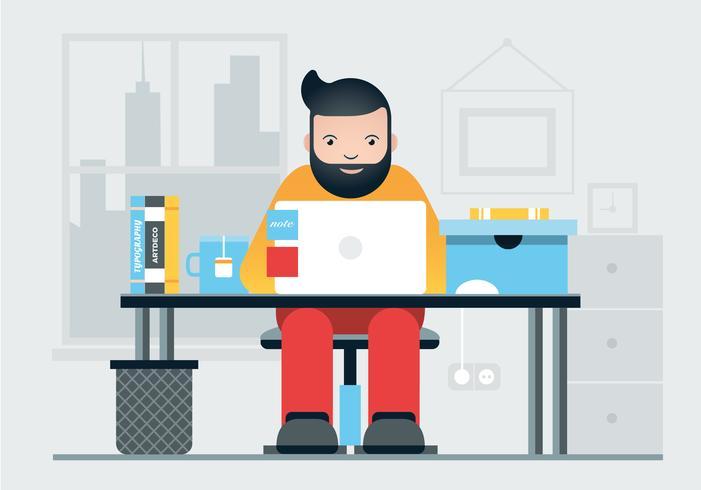 Vector Designer Work Station Illustration
