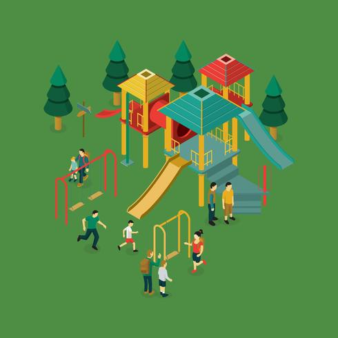 Diverse Children Playing Playground Isometric