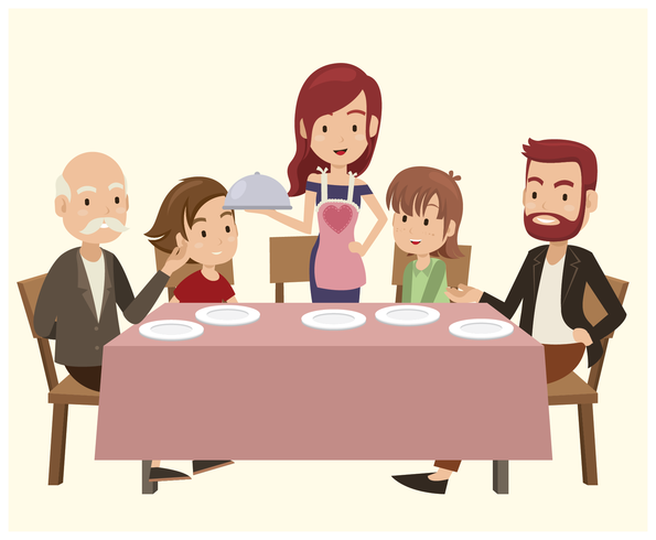 Family On Dinner Table vector