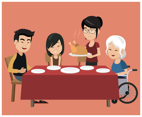 Família na mesa de jantar