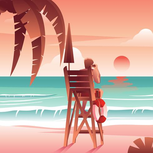 Beach Life Guard Sunset Vector