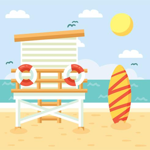 Flat Lifeguard Tower Vector