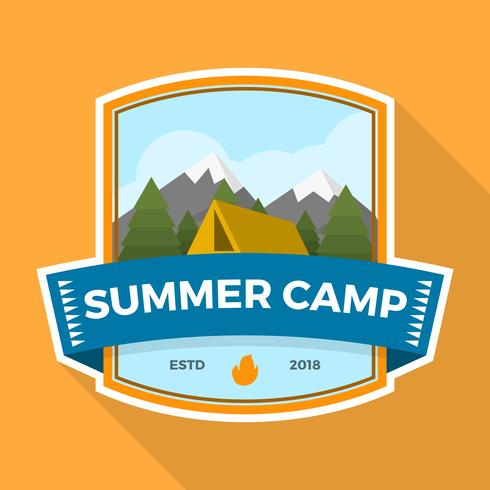 Flat Summer Camp Patch With Landscape Vector Illustration