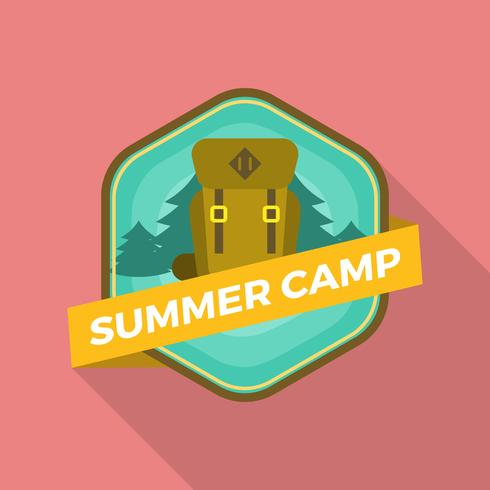 Flat Summer Camp Patch With Hiking Backpack Vector Illustration