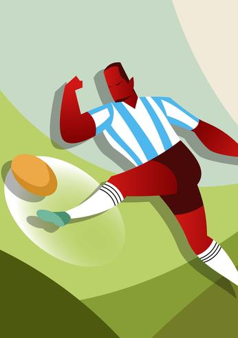 Argentina Soccer Players Illustration