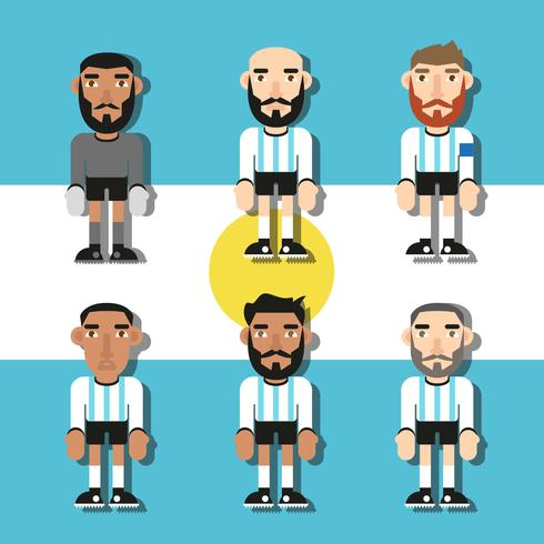 Argentina Soccer Players Flat Vector