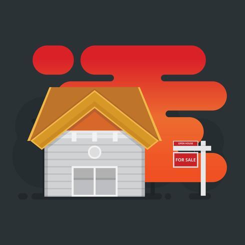 Illustration de liste immobilière. Maison à vendre illustration.