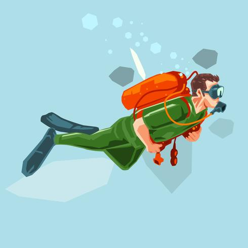 Abstract Scuba Diving Vector Illustration