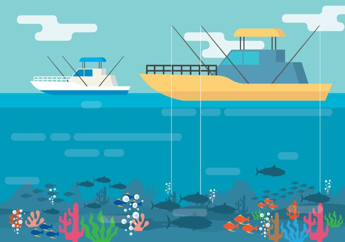 Deep Sea Fishing Illustration vector