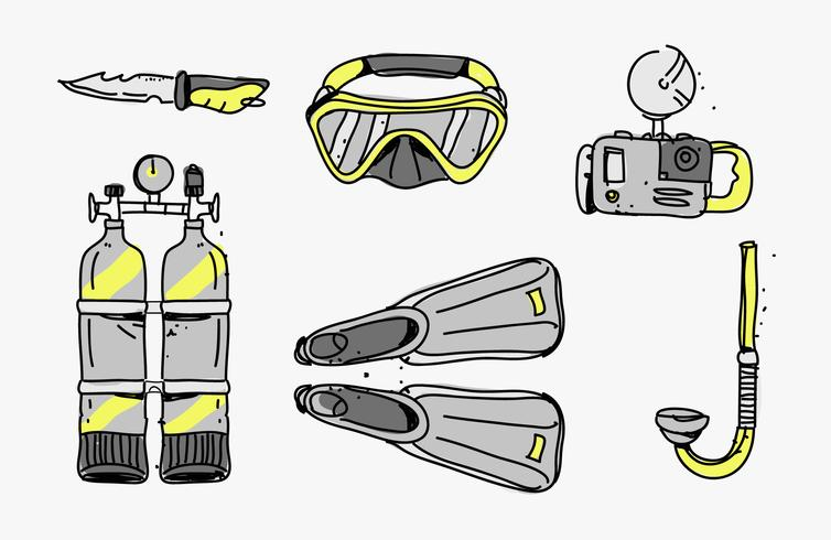 Scuba Diving Hand Drawn Starter Pack Tools Vector Illustration