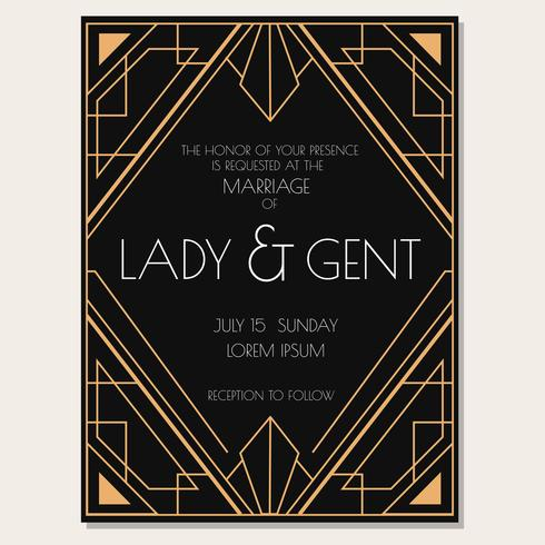 Classic Art Deco Wedding Invitation Vector