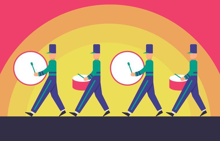 Desfile de la marcha en la ilustración del fondo del atardecer