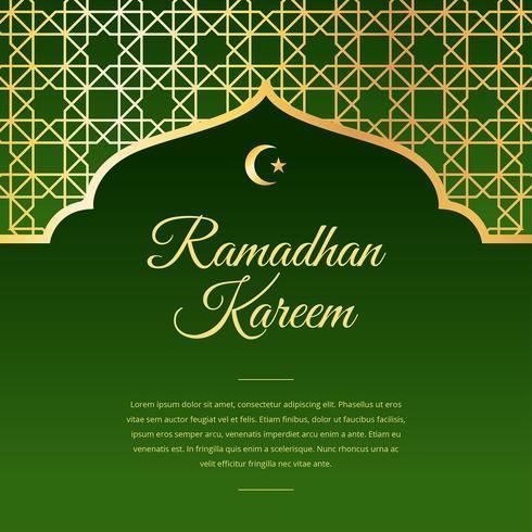 Ramadán saludo vector verde