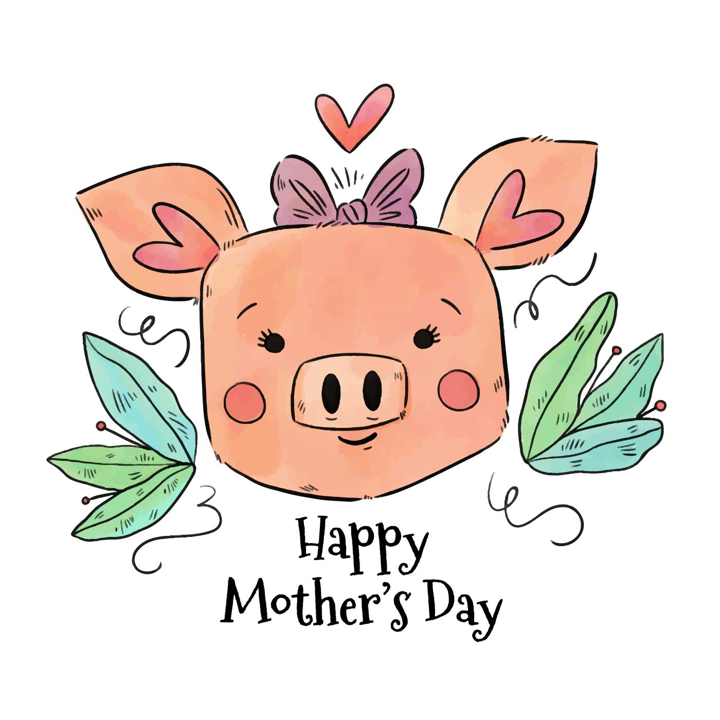 Cute Mom Pig To Mother's Day - Download Free Vector Art ...