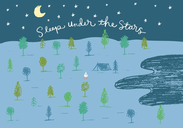 sleep under the stars camping illustration vector