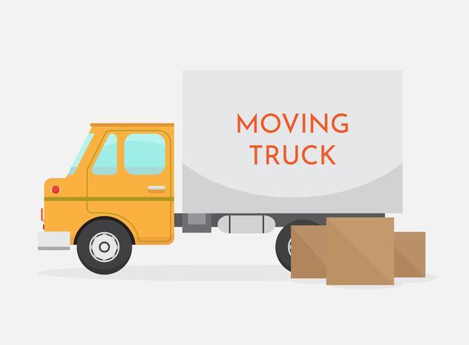 Vetor de caminhão em movimento isolado