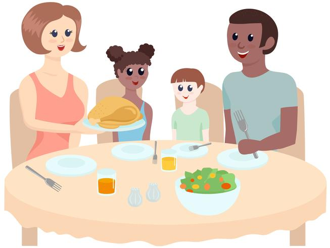 Diverse Dinner Table Vectors