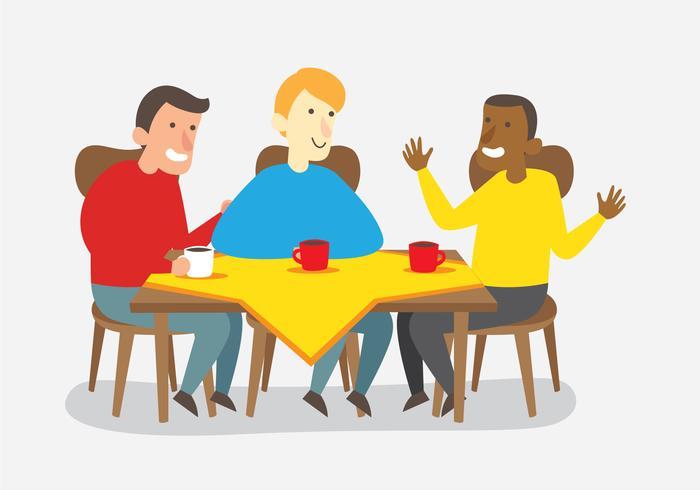 Amigos hablando después de la cena