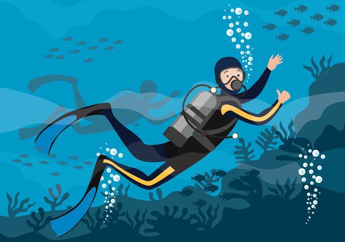 Illustration vectorielle de plongée sous-marine vecteur