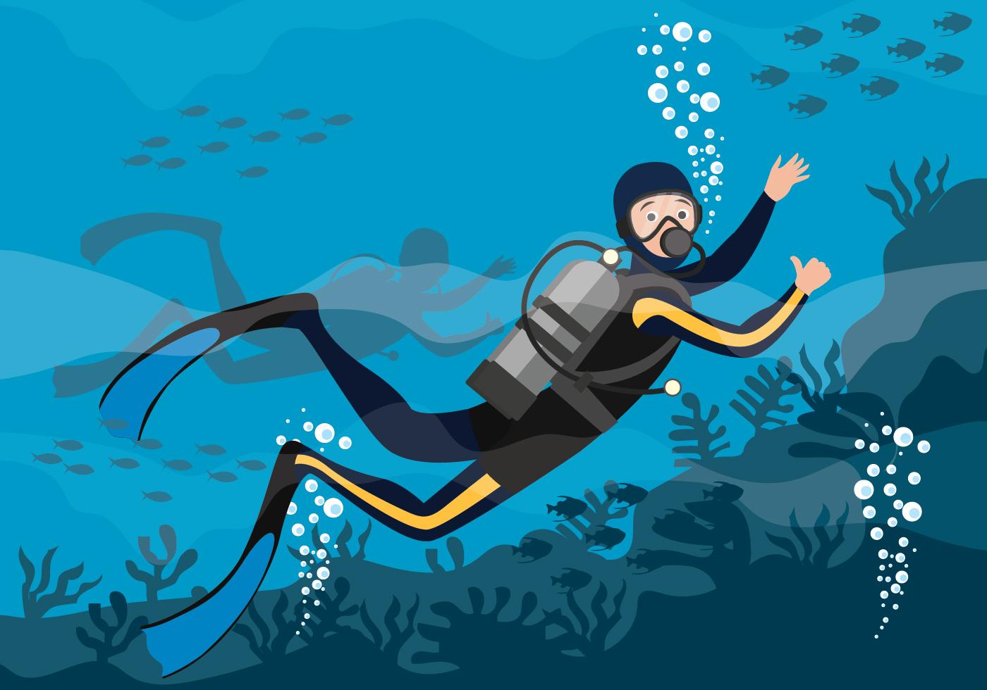 Scuba Diving Vector Illustration - Download Free Vectors ...