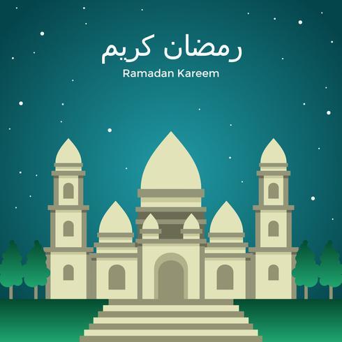 Ramadán Kareem Beige Mezque Vector