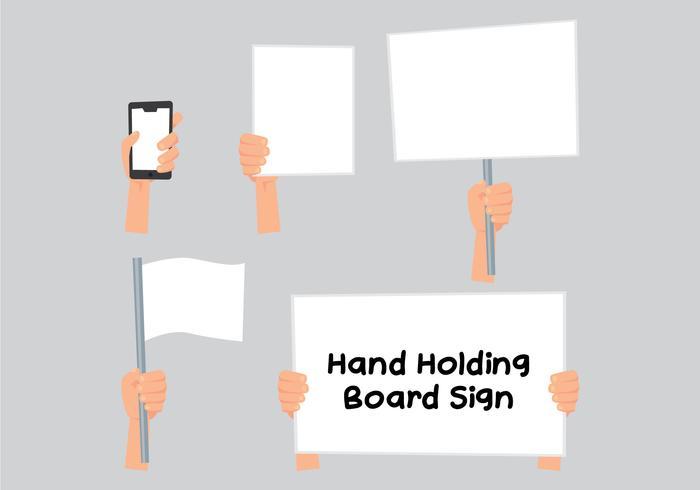 Mão segurando o sinal de campanha