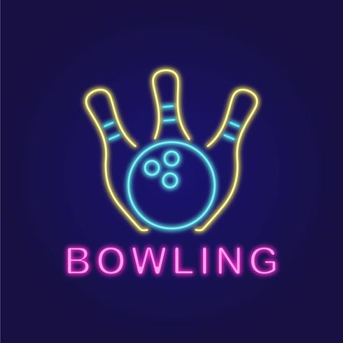 Logotipo de néon de boliche