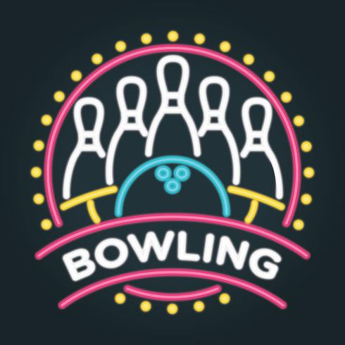 Neon-Bowling-Vektor-Illustration
