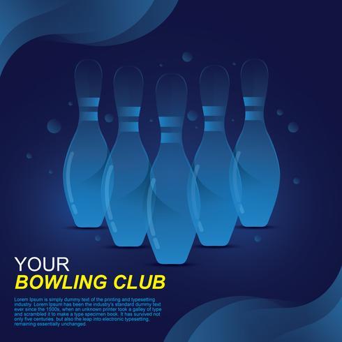 Vecteur de bannière de bowling au néon bleu