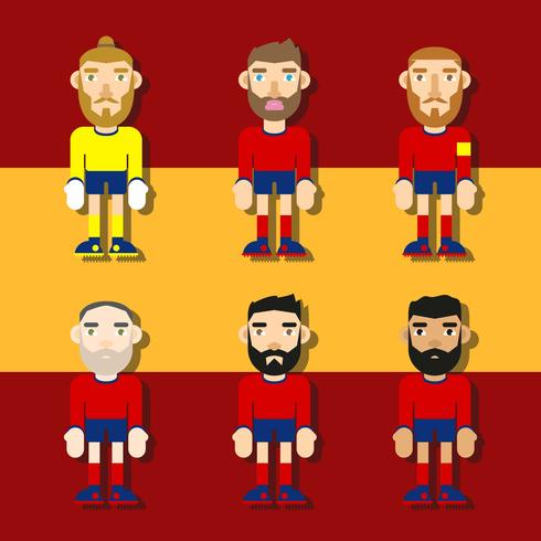 Spanish Soccer Characters Flat Illustration Vector