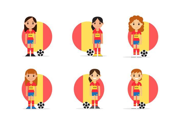 Weiblicher spanischer Fußball-Charakter-Satz