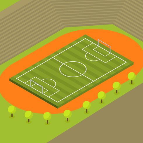 Flat Isometric Soccer Vector Illustration