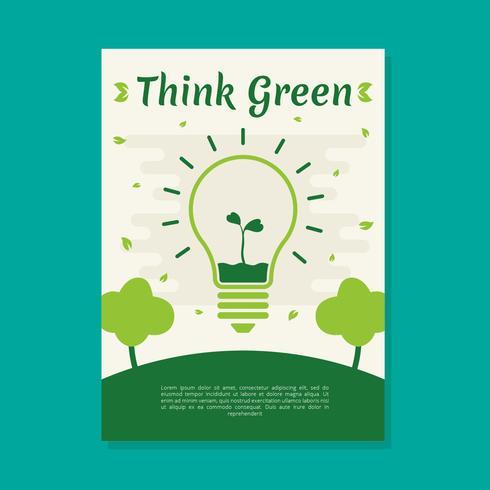 Denk dat groene Poster Vector sjabloon