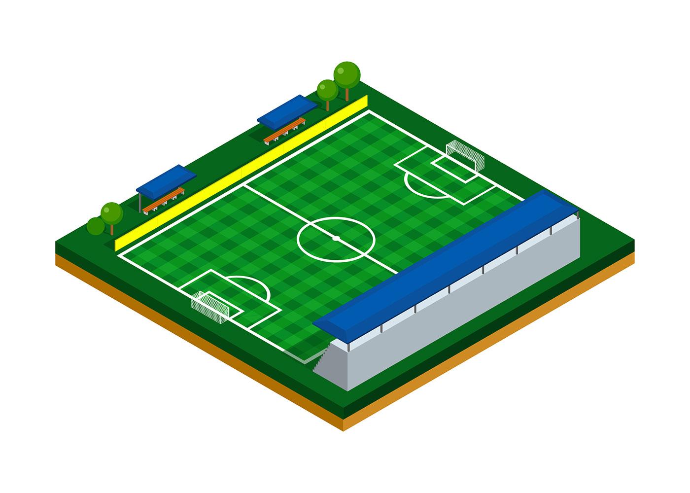 football field isometric vector