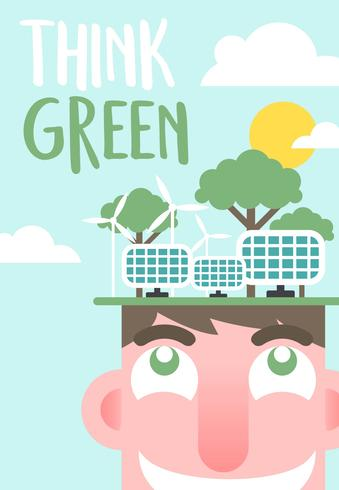 Pense Vetor Poster Verde Ilustração